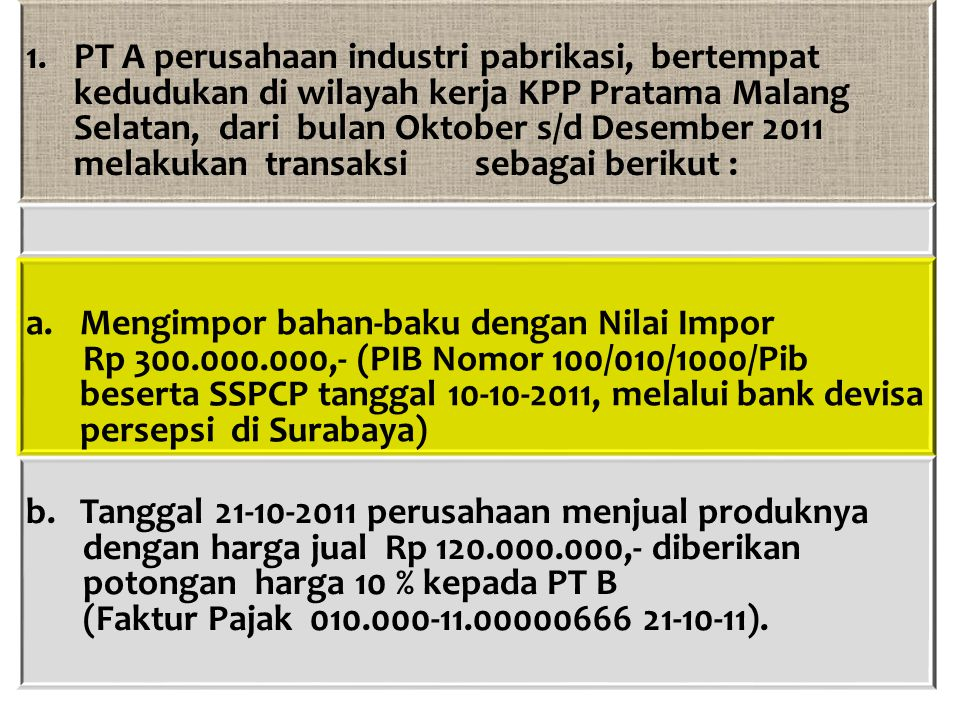 Juli 2011 : PK =10 %X80.000.000,-8.000.000,- PM =70 %X8.000.000,-5.600.000,- PPN yang harus disetor2.400.000,- ( 3% X 80.000.000,- ) Agustus 2011 : Jumlah seluruh penyerahan =(100/110X22.000.000,-)+10.000.000,- =30.000.000,-