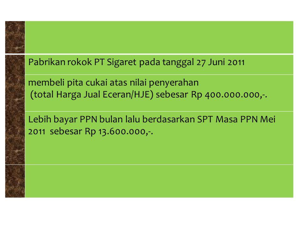 Pabrikan rokok PT Sigaret pada tanggal 27 Juni 2011 membeli pita cukai atas nilai penyerahan (total Harga Jual Eceran/HJE) sebesar Rp 400.000.000,-. L