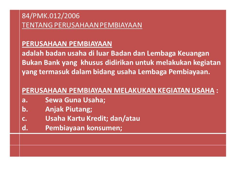 84/PMK.012/2006 TENTANG PERUSAHAAN PEMBIAYAAN PERUSAHAAN PEMBIAYAAN adalah badan usaha di luar Badan dan Lembaga Keuangan Bukan Bank yang khusus didir