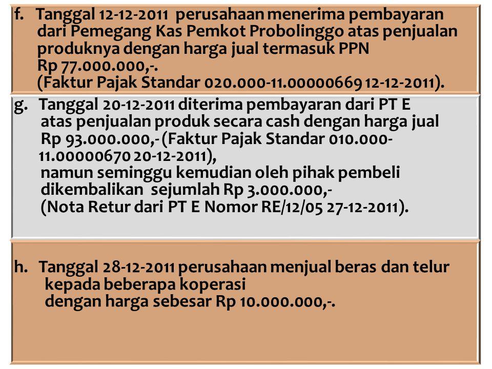 f. Tanggal 12-12-2011 perusahaan menerima pembayaran dari Pemegang Kas Pemkot Probolinggo atas penjualan produknya dengan harga jual termasuk PPN Rp 7