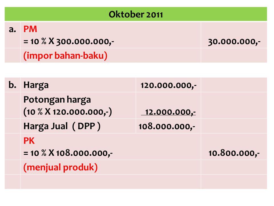 Oktober 2011 a.PM = 10 % X 300.000.000,-30.000.000,- (impor bahan-baku) b.Harga120.000.000,- Potongan harga (10 % X 120.000.000,-) 12.000.000,- Harga