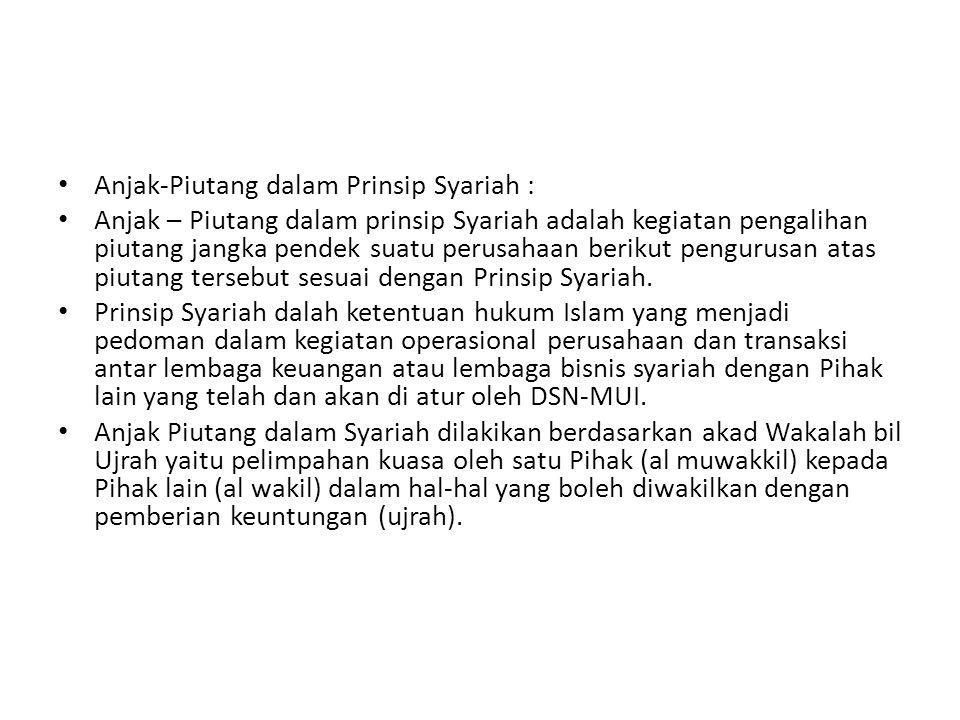Anjak-Piutang dalam Prinsip Syariah : Anjak – Piutang dalam prinsip Syariah adalah kegiatan pengalihan piutang jangka pendek suatu perusahaan berikut