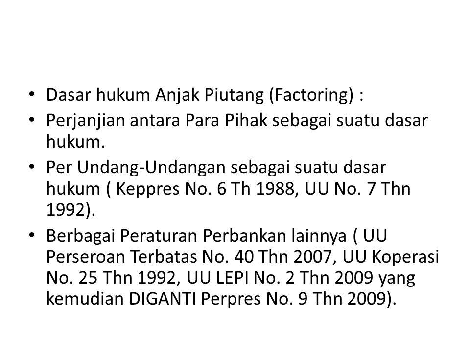 Dasar hukum Anjak Piutang (Factoring) : Perjanjian antara Para Pihak sebagai suatu dasar hukum. Per Undang-Undangan sebagai suatu dasar hukum ( Keppre