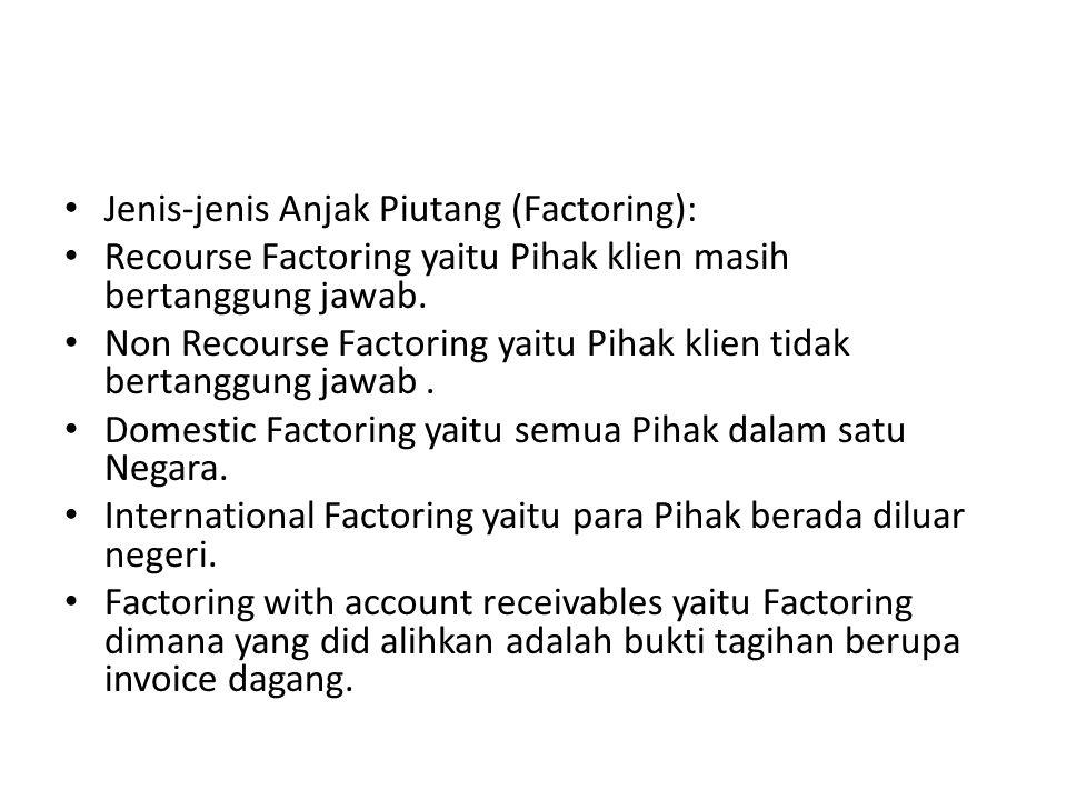 Jenis-jenis Anjak Piutang (Factoring): Recourse Factoring yaitu Pihak klien masih bertanggung jawab. Non Recourse Factoring yaitu Pihak klien tidak be