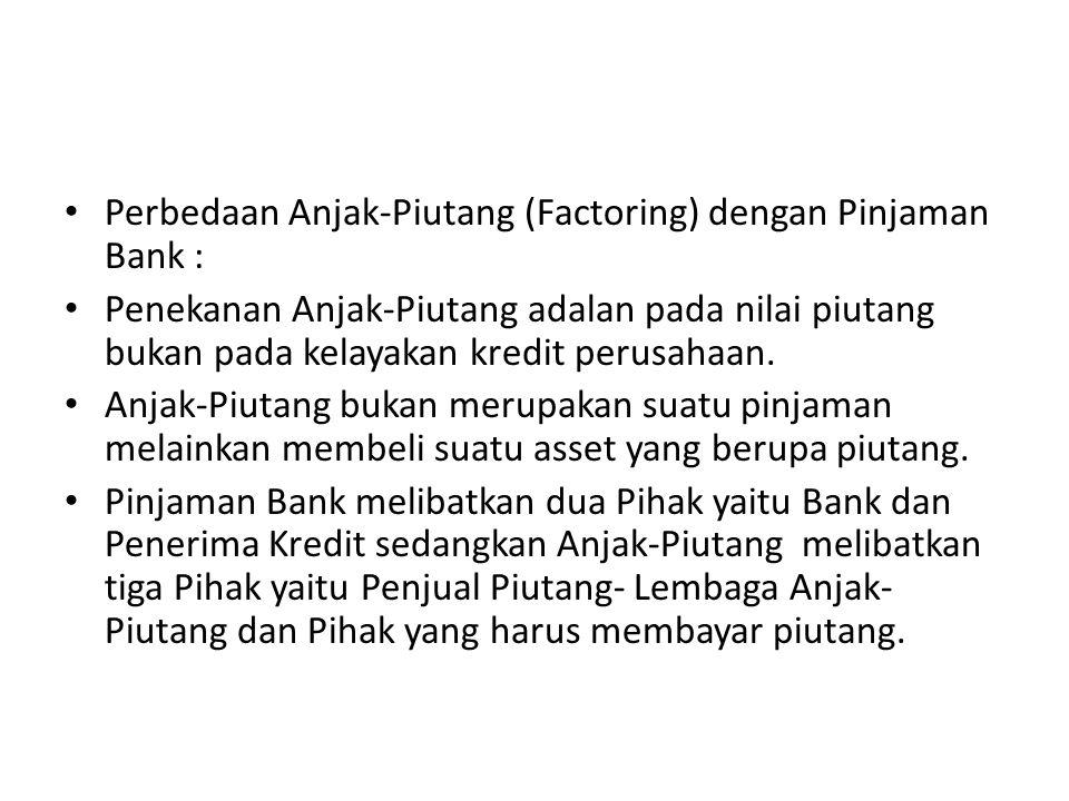 Perbedaan Anjak-Piutang (Factoring) dengan Pinjaman Bank : Penekanan Anjak-Piutang adalan pada nilai piutang bukan pada kelayakan kredit perusahaan. A