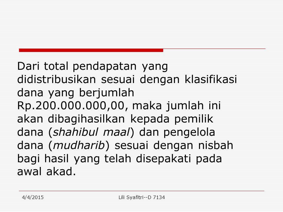 Dari total pendapatan yang didistribusikan sesuai dengan klasifikasi dana yang berjumlah Rp.200.000.000,00, maka jumlah ini akan dibagihasilkan kepada