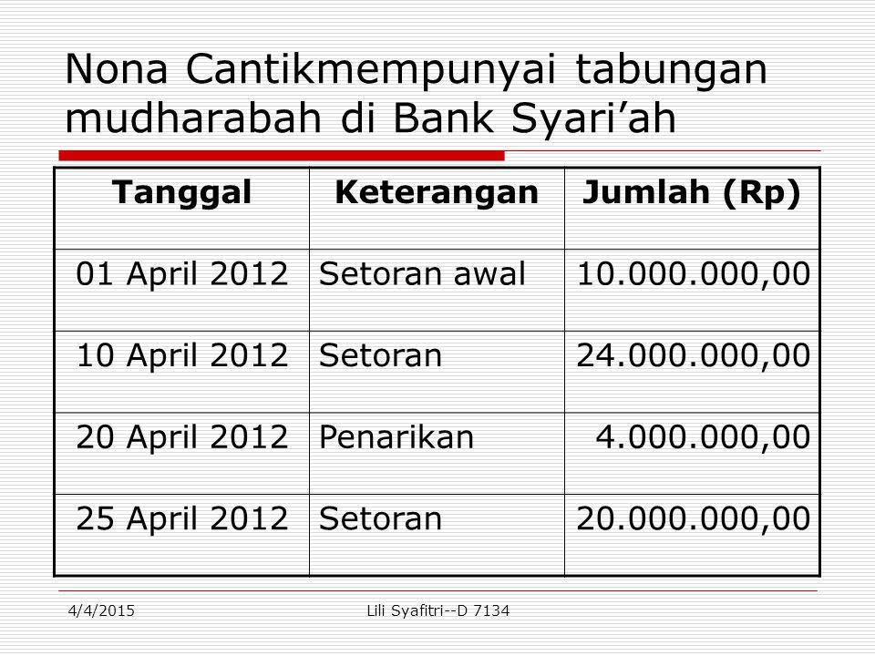 Nona Cantikmempunyai tabungan mudharabah di Bank Syari'ah TanggalKeteranganJumlah (Rp) 01 April 2012Setoran awal10.000.000,00 10 April 2012Setoran24.0