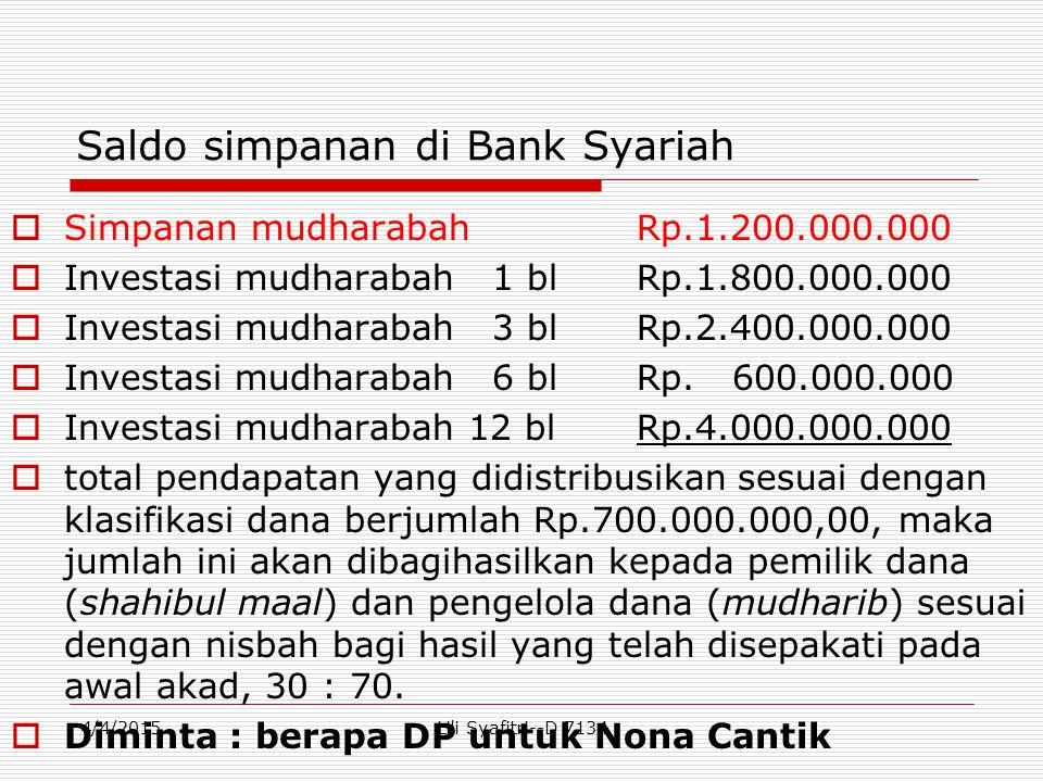 Saldo simpanan di Bank Syariah  Simpanan mudharabahRp.1.200.000.000  Investasi mudharabah 1 blRp.1.800.000.000  Investasi mudharabah 3 blRp.2.400.0