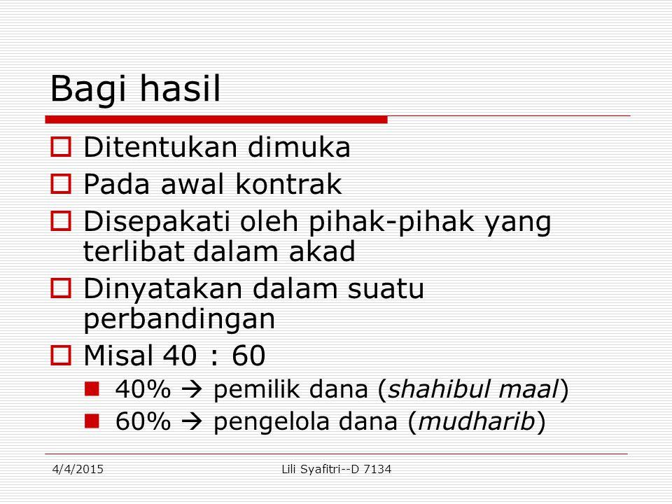 Contoh perhitungan distribusi pendapatan Bank Syari'ah tahun 2012 :  Simpanan mudharabahRp.