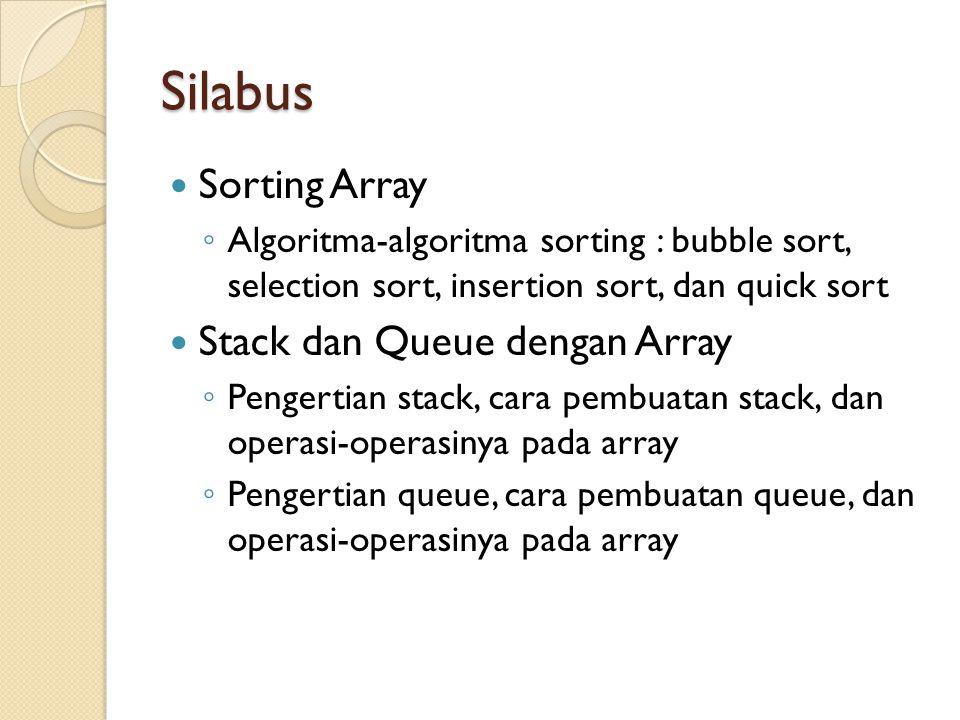 Silabus Sorting Array ◦ Algoritma-algoritma sorting : bubble sort, selection sort, insertion sort, dan quick sort Stack dan Queue dengan Array ◦ Penge
