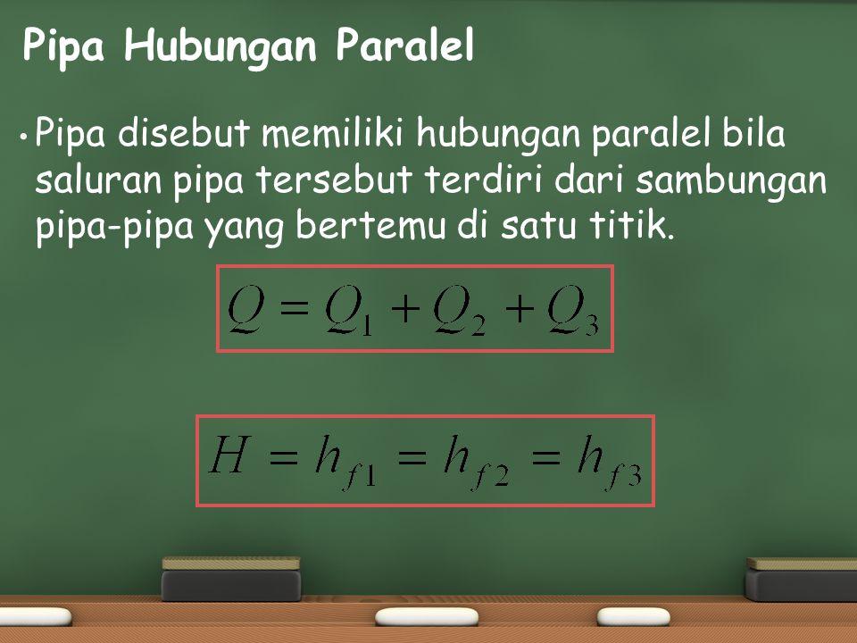 Pipa Hubungan Paralel Pipa disebut memiliki hubungan paralel bila saluran pipa tersebut terdiri dari sambungan pipa-pipa yang bertemu di satu titik.
