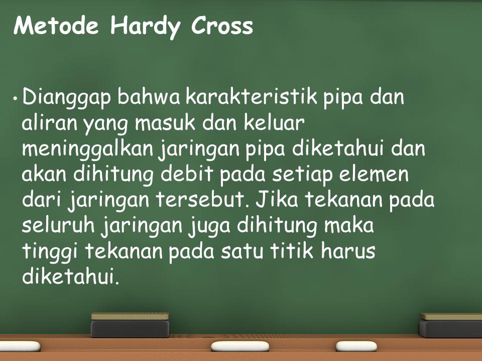 Metode Hardy Cross Dianggap bahwa karakteristik pipa dan aliran yang masuk dan keluar meninggalkan jaringan pipa diketahui dan akan dihitung debit pad