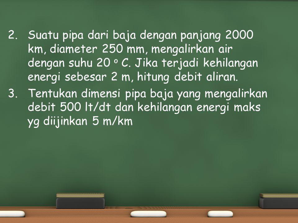 2. Suatu pipa dari baja dengan panjang 2000 km, diameter 250 mm, mengalirkan air dengan suhu 20 o C. Jika terjadi kehilangan energi sebesar 2 m, hitun