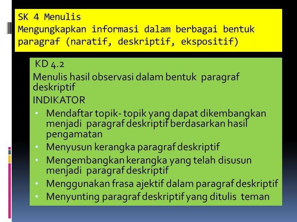 SK 4 Menulis Mengungkapkan informasi dalam berbagai bentuk paragraf (naratif, deskriptif, ekspositif) KD 4.2 Menulis hasil observasi dalam bentuk paragraf deskriptif INDIKATOR Mendaftar topik- topik yang dapat dikembangkan menjadi paragraf deskriptif berdasarkan hasil pengamatan Menyusun kerangka paragraf deskriptif Mengembangkan kerangka yang telah disusun menjadi paragraf deskriptif Menggunakan frasa ajektif dalam paragraf deskriptif Menyunting paragraf deskriptif yang ditulis teman