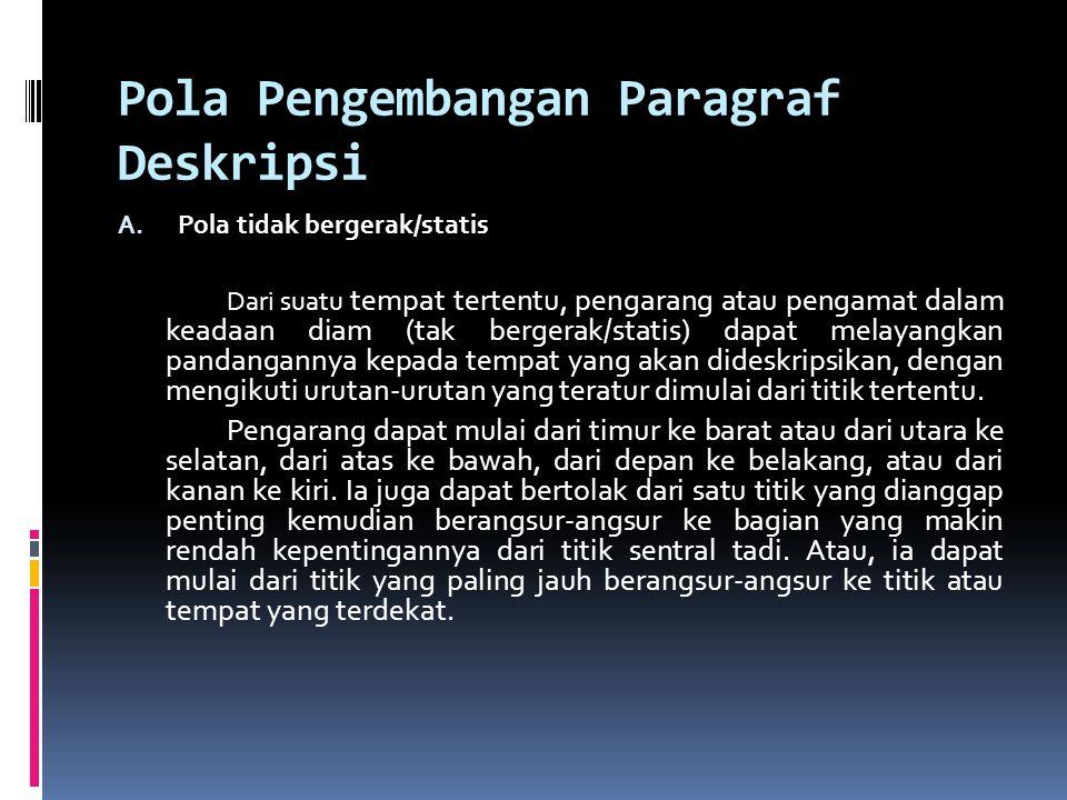 Pola Pengembangan Paragraf Deskripsi A.