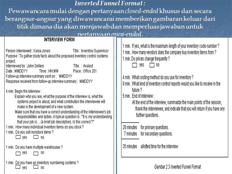 Inverted Funnel Format : Pewawancara mulai dengan pertanyaan closed-ended khusus dan secara berangsur-angsur yang diwawancarai memberikan gambaran keluar dari titik dimana dia akan menjawab dan memperluas jawaban untuk pertanyaan open-ended.