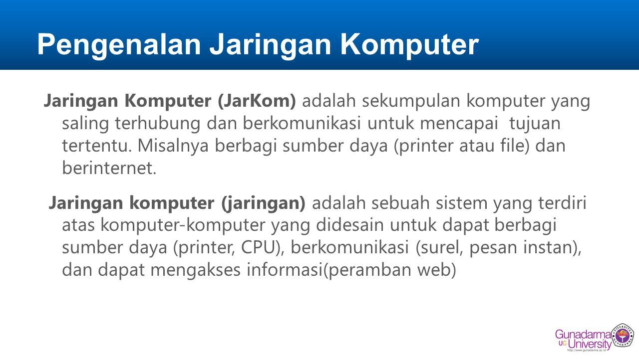 Pengenalan Jaringan Komputer JarKom mendukung kita untuk mempelajari hal-hal yang baru.
