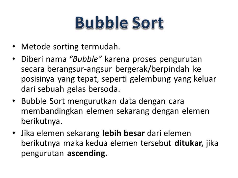 """Metode sorting termudah. Diberi nama """"Bubble"""" karena proses pengurutan secara berangsur-angsur bergerak/berpindah ke posisinya yang tepat, seperti gel"""