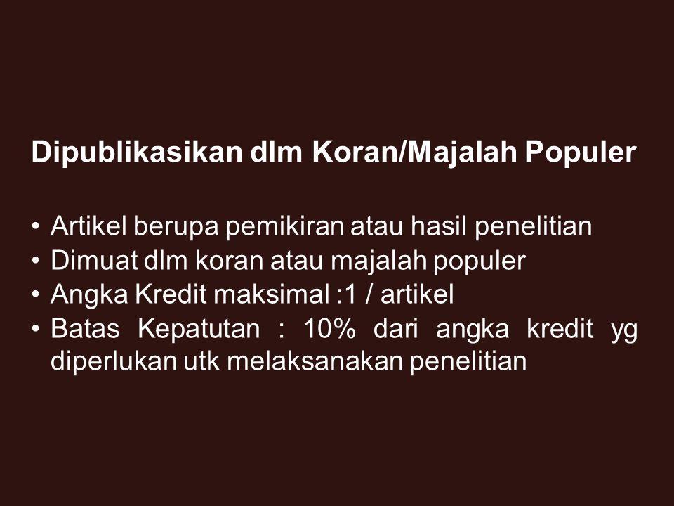 26 3.Prosiding Ditulis dalam bahasa Indonesia Editorial berasal dari bidang ilmunya Memiliki ISBN Diterbitkan oleh Organisasi Profesi, PT, Lembaga Penelitian 4.