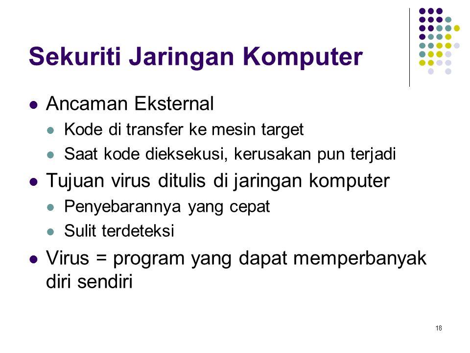 18 Sekuriti Jaringan Komputer Ancaman Eksternal Kode di transfer ke mesin target Saat kode dieksekusi, kerusakan pun terjadi Tujuan virus ditulis di j