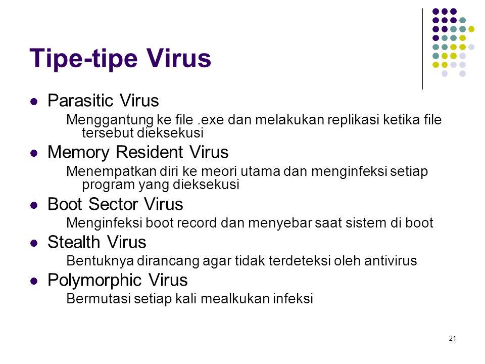 21 Tipe-tipe Virus Parasitic Virus Menggantung ke file.exe dan melakukan replikasi ketika file tersebut dieksekusi Memory Resident Virus Menempatkan d