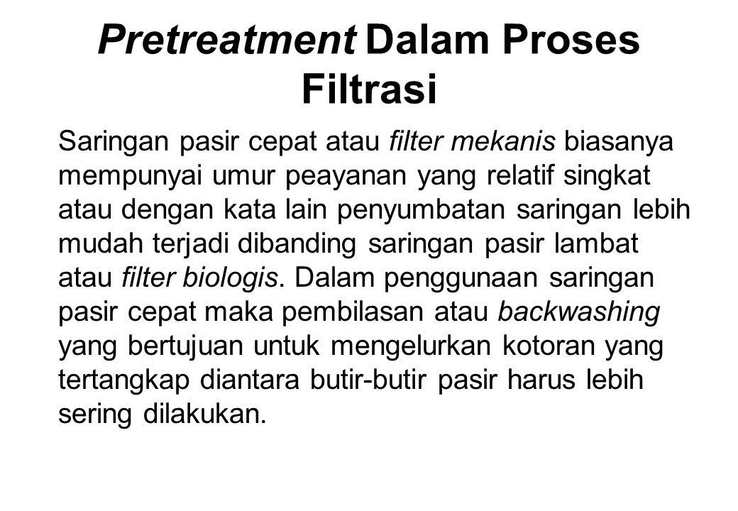 Pretreatment Dalam Proses Filtrasi Saringan pasir cepat atau filter mekanis biasanya mempunyai umur peayanan yang relatif singkat atau dengan kata lai