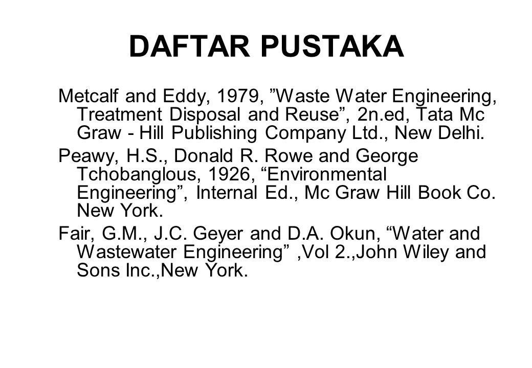 DAFTAR PUSTAKA Metcalf and Eddy, 1979, Waste Water Engineering, Treatment Disposal and Reuse , 2n.ed, Tata Mc Graw - Hill Publishing Company Ltd., New Delhi.