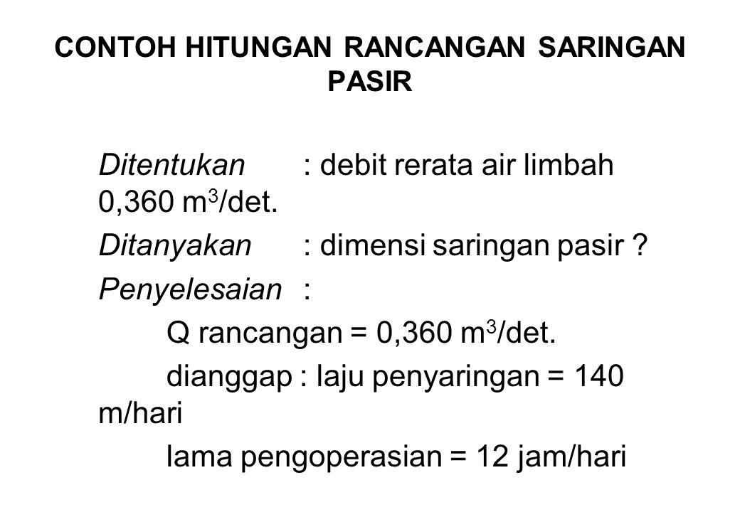 CONTOH HITUNGAN RANCANGAN SARINGAN PASIR Ditentukan: debit rerata air limbah 0,360 m 3 /det. Ditanyakan: dimensi saringan pasir ? Penyelesaian: Q ranc