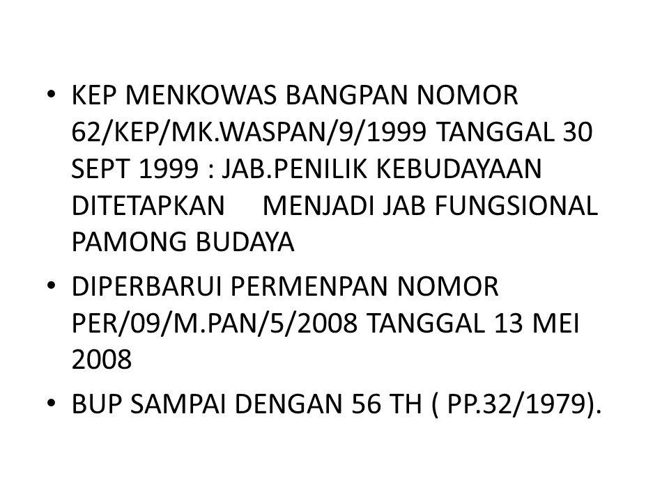 KEP MENKOWAS BANGPAN NOMOR 62/KEP/MK.WASPAN/9/1999 TANGGAL 30 SEPT 1999 : JAB.PENILIK KEBUDAYAAN DITETAPKAN MENJADI JAB FUNGSIONAL PAMONG BUDAYA DIPERBARUI PERMENPAN NOMOR PER/09/M.PAN/5/2008 TANGGAL 13 MEI 2008 BUP SAMPAI DENGAN 56 TH ( PP.32/1979).