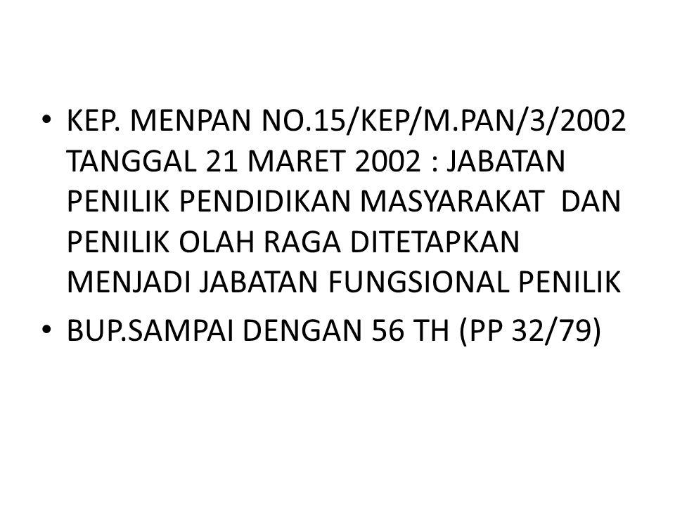 KEP. MENPAN NO.15/KEP/M.PAN/3/2002 TANGGAL 21 MARET 2002 : JABATAN PENILIK PENDIDIKAN MASYARAKAT DAN PENILIK OLAH RAGA DITETAPKAN MENJADI JABATAN FUNG