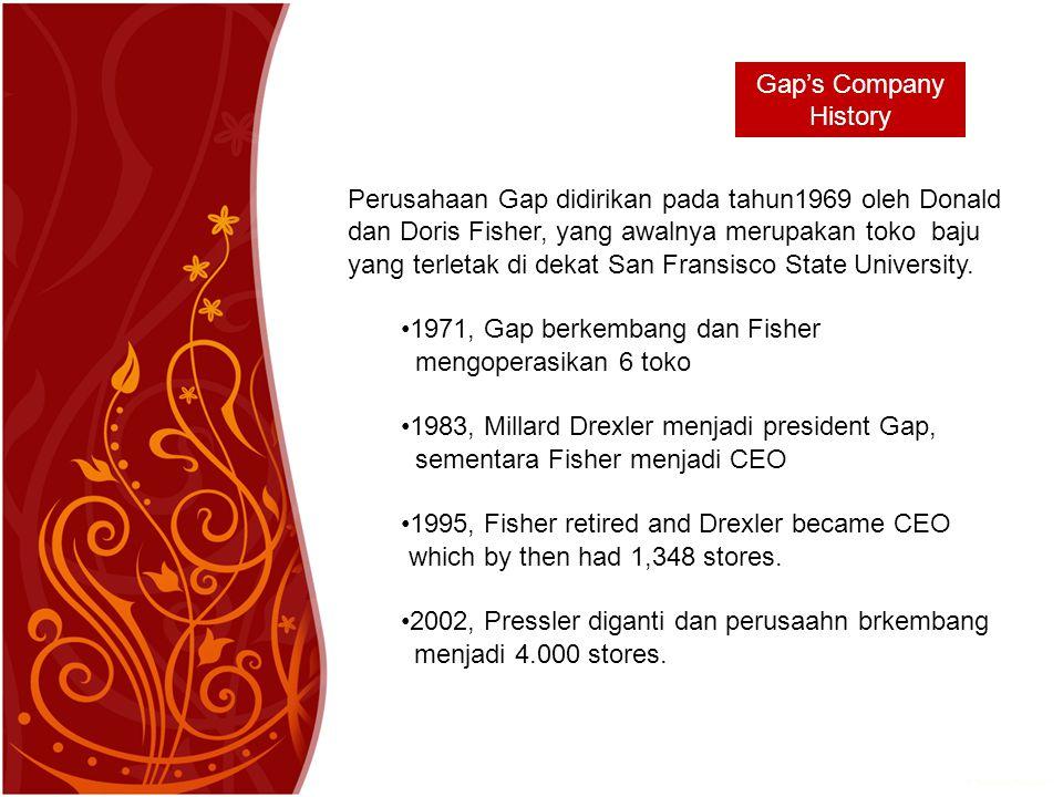 Gap's Company History Perusahaan Gap didirikan pada tahun1969 oleh Donald dan Doris Fisher, yang awalnya merupakan toko baju yang terletak di dekat San Fransisco State University.