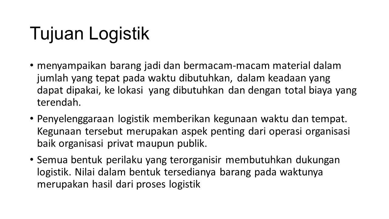 Tujuan Logistik menyampaikan barang jadi dan bermacam-macam material dalam jumlah yang tepat pada waktu dibutuhkan, dalam keadaan yang dapat dipakai,
