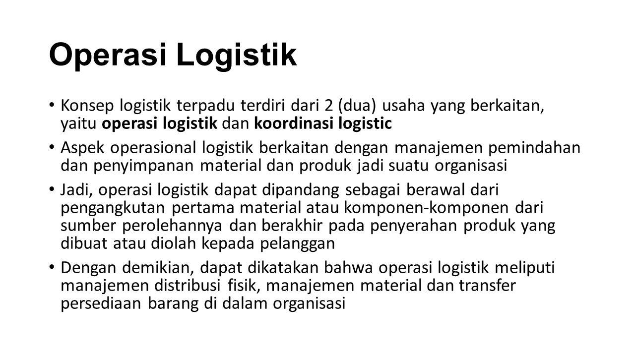 Operasi Logistik Konsep logistik terpadu terdiri dari 2 (dua) usaha yang berkaitan, yaitu operasi logistik dan koordinasi logistic Aspek operasional l