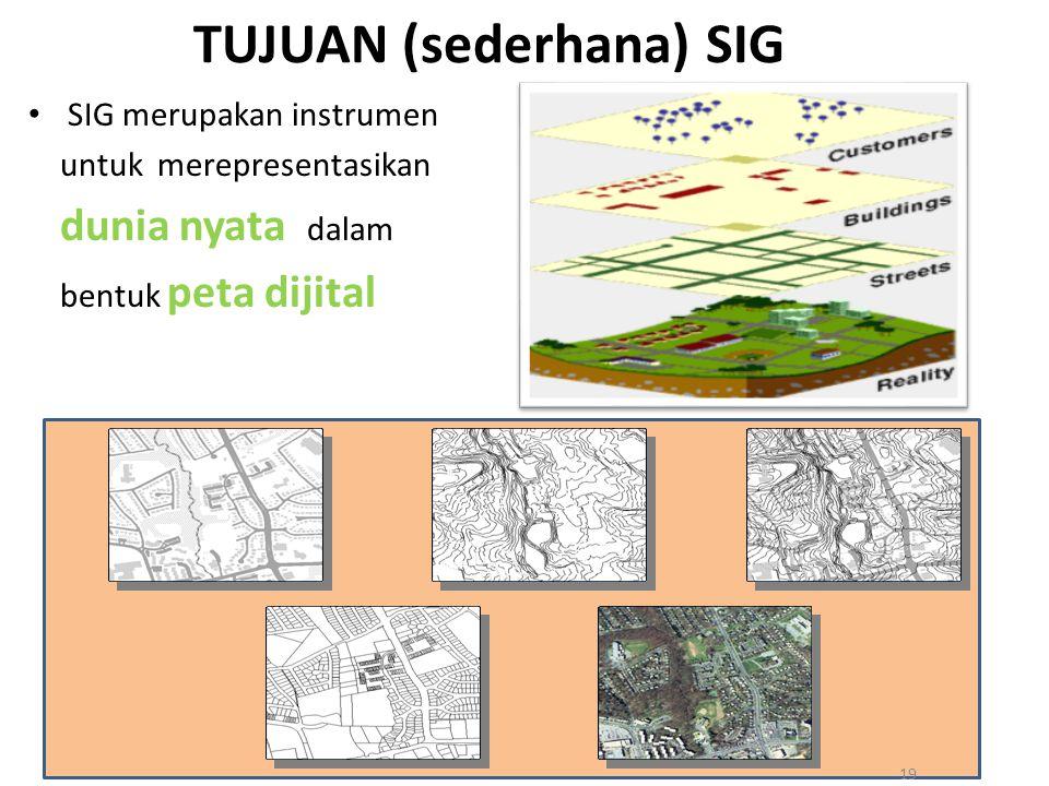 TUJUAN (sederhana) SIG SIG merupakan instrumen untuk merepresentasikan dunia nyata dalam bentuk peta dijital 19