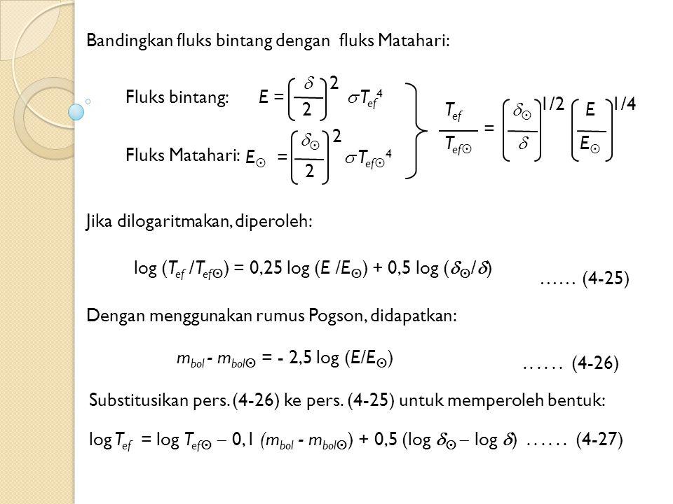 Bandingkan fluks bintang dengan fluks Matahari: E =  T ef 4  2 2   1/2 E EE 1/4 T ef T ef  = Jika dilogaritmakan, diperoleh: log (T ef /T ef  ) = 0,25 log (E /E  ) + 0,5 log (   /  ) …… (4-25) E  =  T ef  4  2 2 Fluks bintang: Fluks Matahari: Dengan menggunakan rumus Pogson, didapatkan: m bol - m bol  = - 2,5 log (E/E  )......