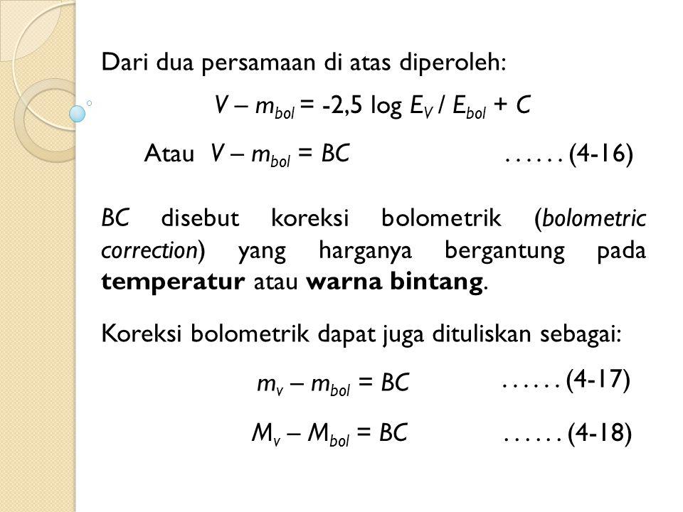 Dari dua persamaan di atas diperoleh: V – m bol = -2,5 log E V / E bol + C Atau V – m bol = BC BC disebut koreksi bolometrik (bolometric correction) yang harganya bergantung pada temperatur atau warna bintang.......