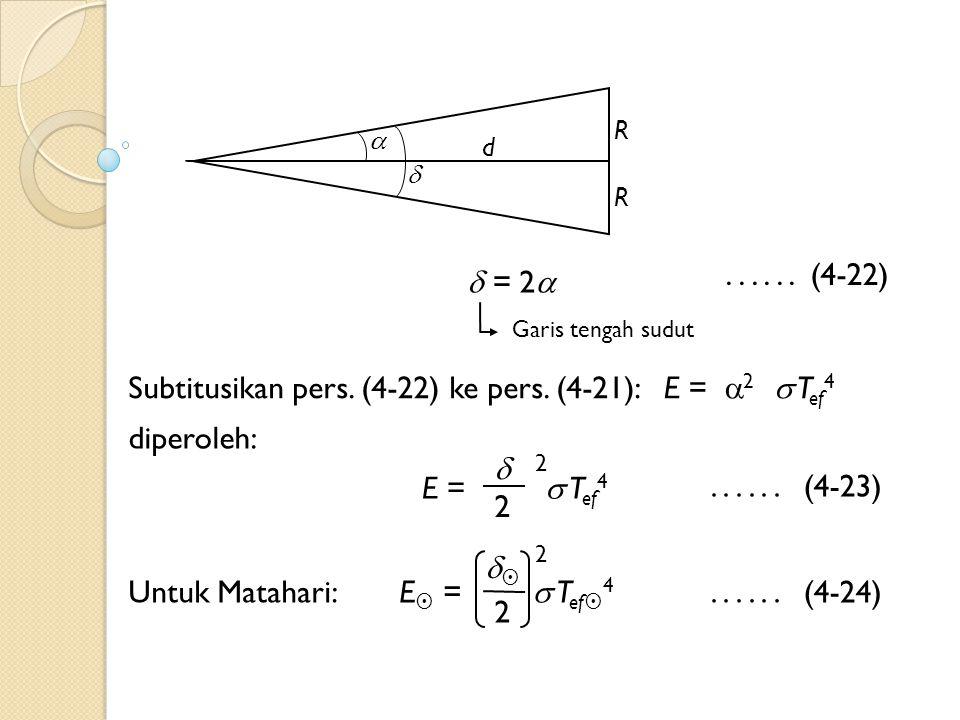  R d   = 2  Garis tengah sudut Untuk Matahari:  E  =  T ef  4 2 E =  T ef 4  2 2 2......