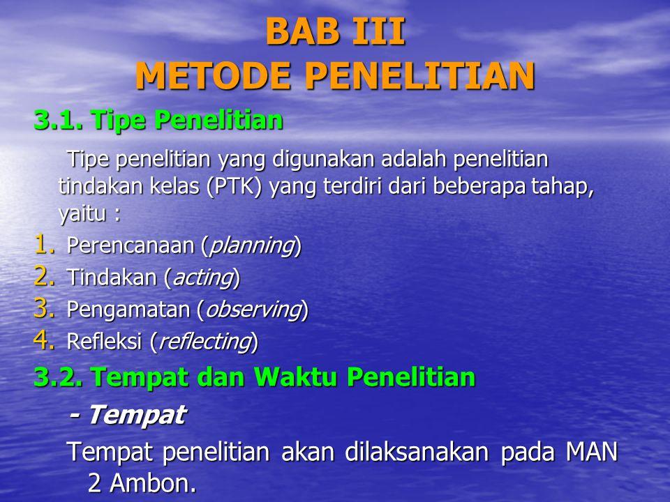 BAB III METODE PENELITIAN 3.1. Tipe Penelitian Tipe penelitian yang digunakan adalah penelitian tindakan kelas (PTK) yang terdiri dari beberapa tahap,