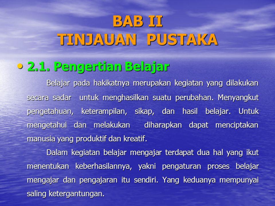 BAB II TINJAUAN PUSTAKA 2.1. Pengertian Belajar 2.1. Pengertian Belajar Belajar pada hakikatnya merupakan kegiatan yang dilakukan secara sadar untuk m