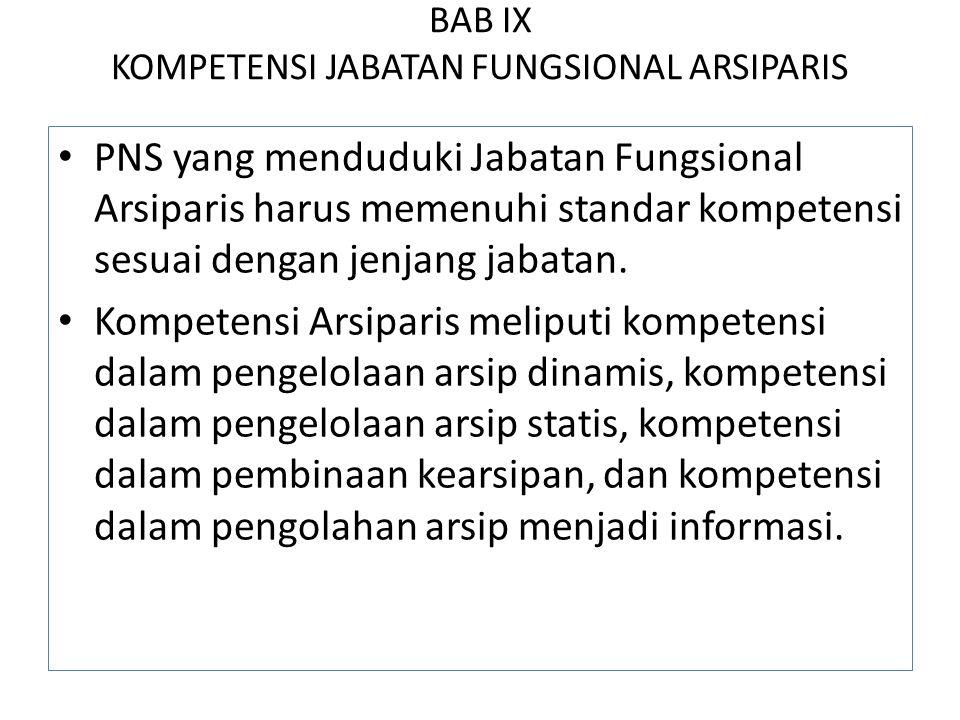 BAB IX KOMPETENSI JABATAN FUNGSIONAL ARSIPARIS PNS yang menduduki Jabatan Fungsional Arsiparis harus memenuhi standar kompetensi sesuai dengan jenjang jabatan.