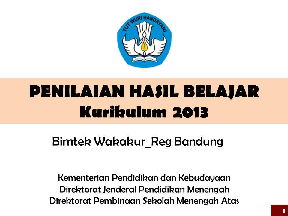 PENILAIAN HASIL BELAJAR Kurikulum 2013 1 Kementerian Pendidikan dan Kebudayaan Direktorat Jenderal Pendidikan Menengah Direktorat Pembinaan Sekolah Menengah Atas Bimtek Wakakur_Reg Bandung