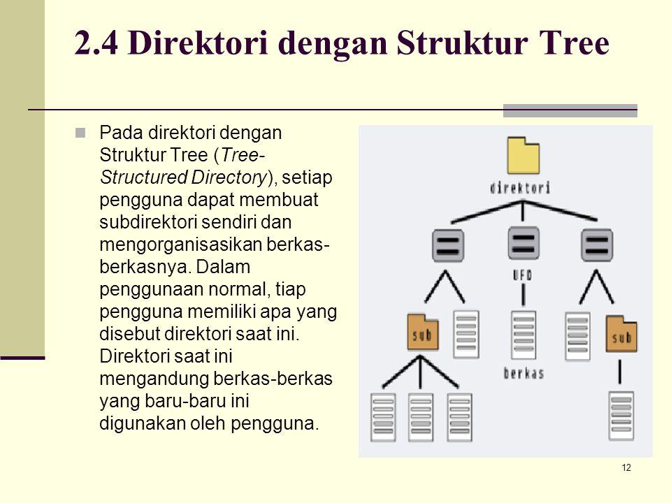 12 2.4 Direktori dengan Struktur Tree Pada direktori dengan Struktur Tree (Tree- Structured Directory), setiap pengguna dapat membuat subdirektori sen