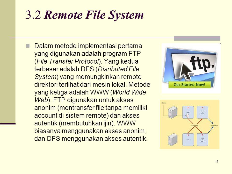 15 3.2 Remote File System Dalam metode implementasi pertama yang digunakan adalah program FTP (File Transfer Protocol). Yang kedua terbesar adalah DFS