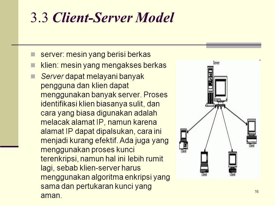 16 3.3 Client-Server Model server: mesin yang berisi berkas klien: mesin yang mengakses berkas Server dapat melayani banyak pengguna dan klien dapat m