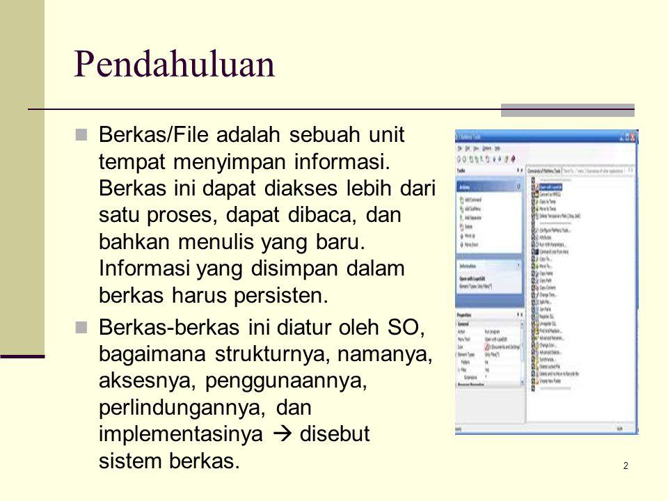 2 Pendahuluan Berkas/File adalah sebuah unit tempat menyimpan informasi. Berkas ini dapat diakses lebih dari satu proses, dapat dibaca, dan bahkan men