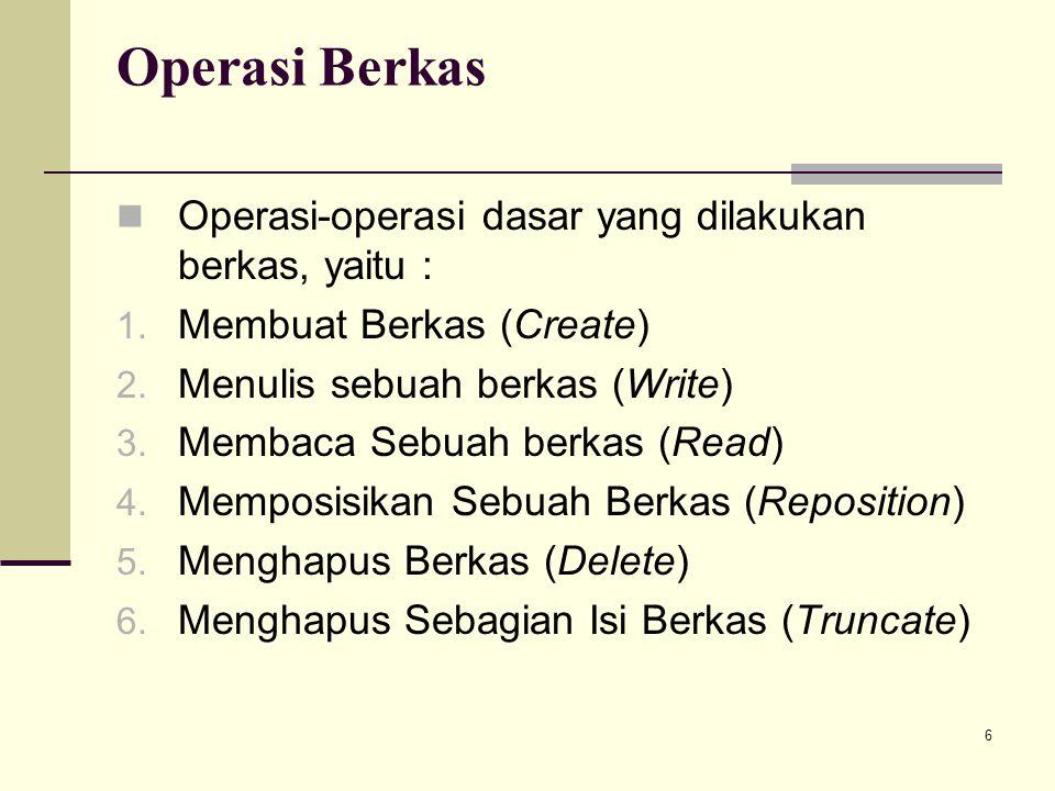 6 Operasi Berkas Operasi-operasi dasar yang dilakukan berkas, yaitu : 1. Membuat Berkas (Create) 2. Menulis sebuah berkas (Write) 3. Membaca Sebuah be