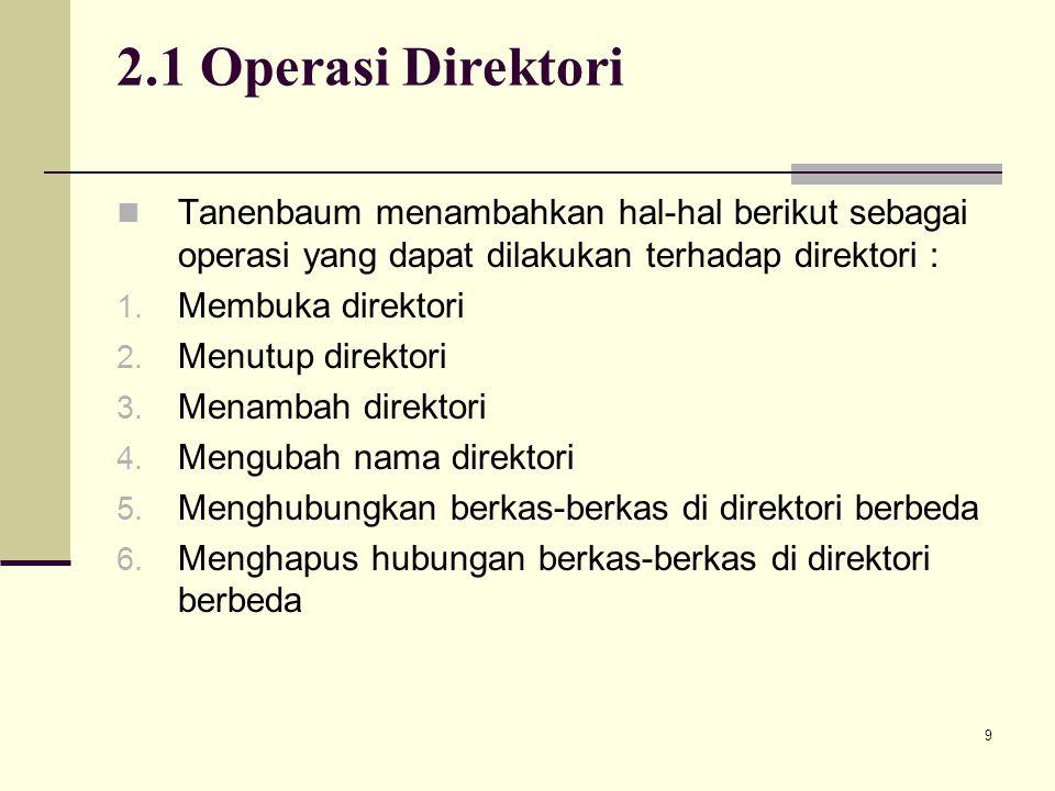 9 2.1 Operasi Direktori Tanenbaum menambahkan hal-hal berikut sebagai operasi yang dapat dilakukan terhadap direktori : 1. Membuka direktori 2. Menutu