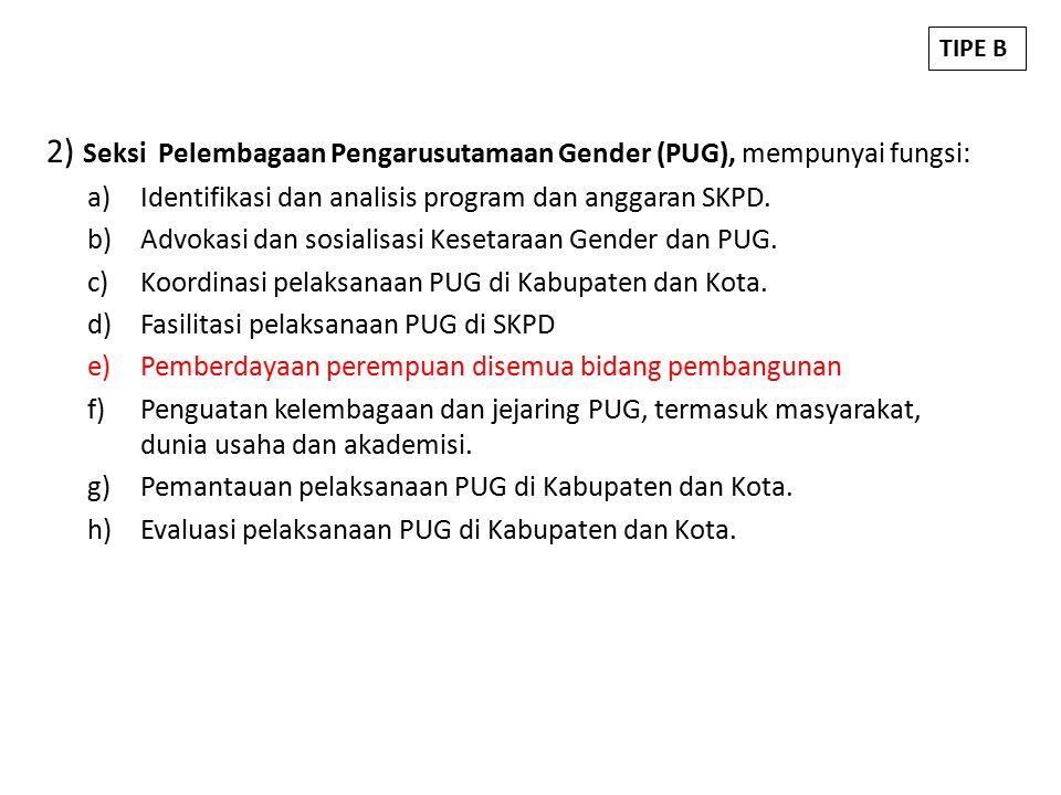 2) Seksi Pelembagaan Pengarusutamaan Gender (PUG), mempunyai fungsi: a)Identifikasi dan analisis program dan anggaran SKPD.