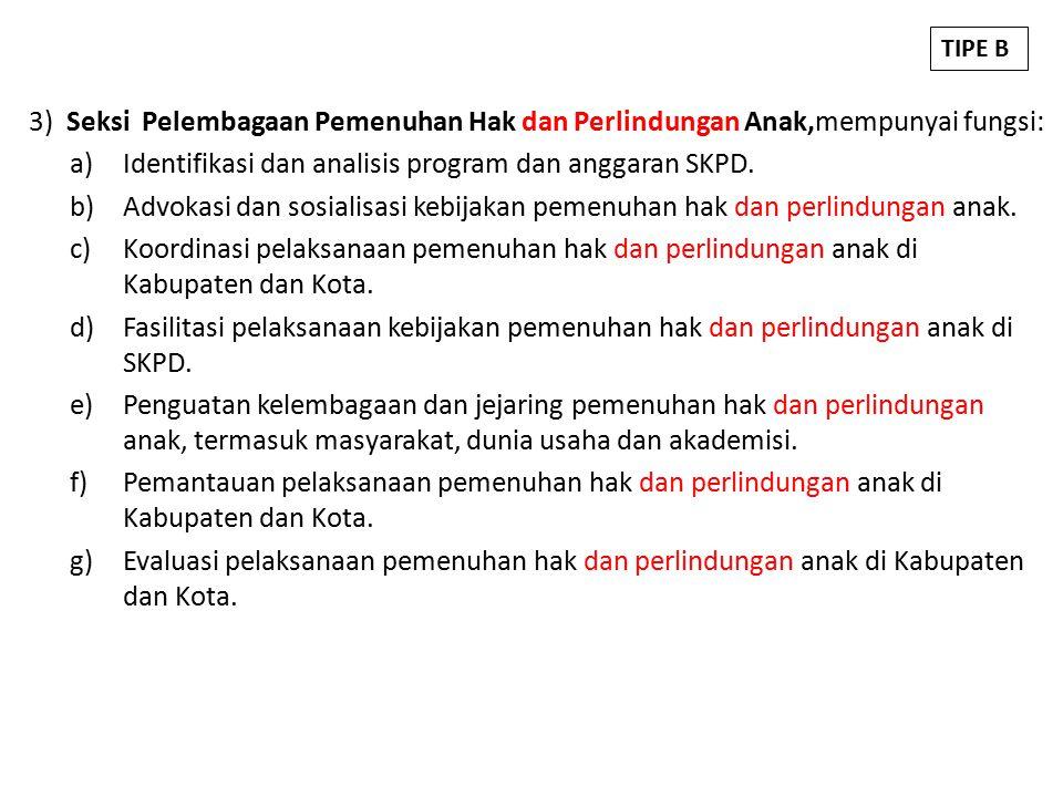 3) Seksi Pelembagaan Pemenuhan Hak dan Perlindungan Anak,mempunyai fungsi: a)Identifikasi dan analisis program dan anggaran SKPD.