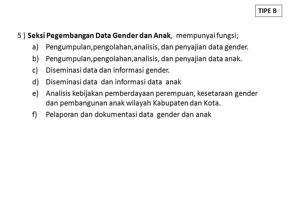 5 ) Seksi Pegembangan Data Gender dan Anak, mempunyai fungsi; a)Pengumpulan,pengolahan,analisis, dan penyajian data gender.